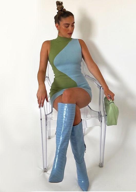 Mock Neck Colour Block Contrast Knitted Mini Dress Blue