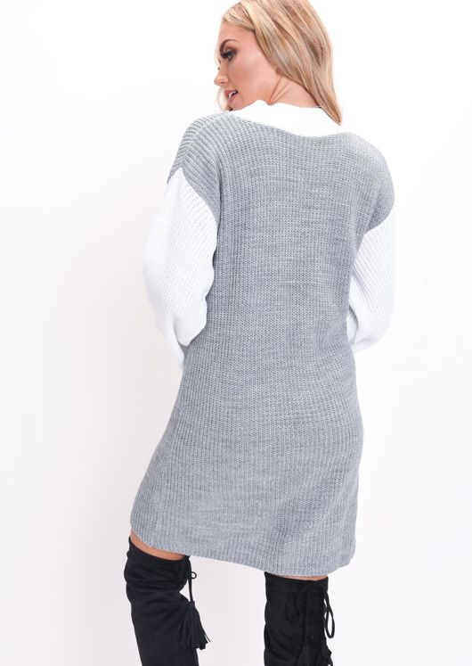 Contrast Knit Jumper Dress Grey