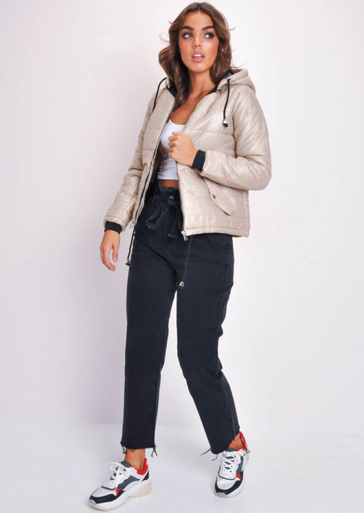 Crop Contrast Lining Padded Hooded Puffer Coat Beige