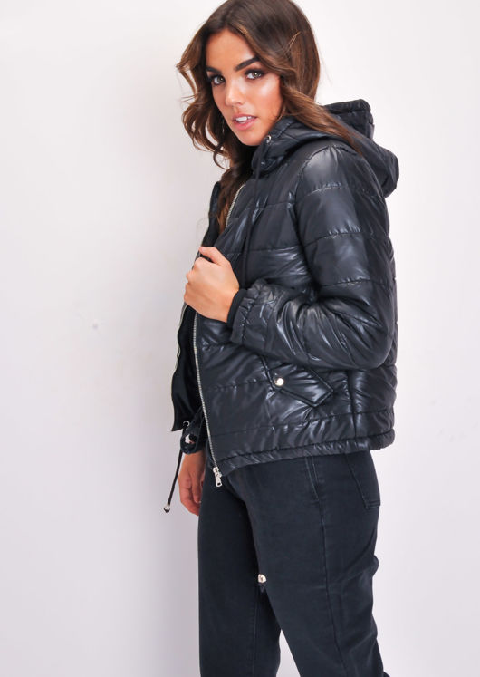 Crop Padded Hooded Puffer Coat Black