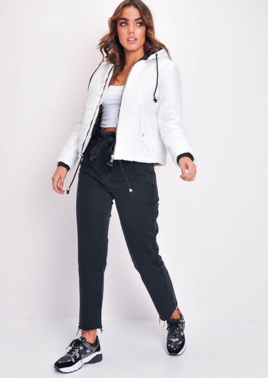 Crop Contrast Lining Padded Hooded Puffer Coat White