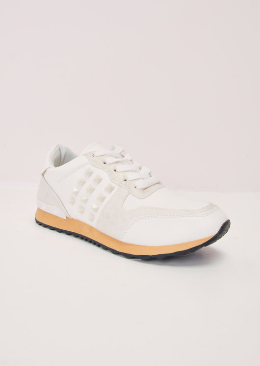 Contrast Sole Studded Lace Up Trainers White