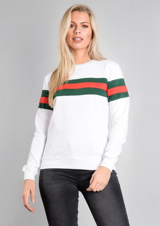 Contrast Stripe Jumper Sweatshirt White