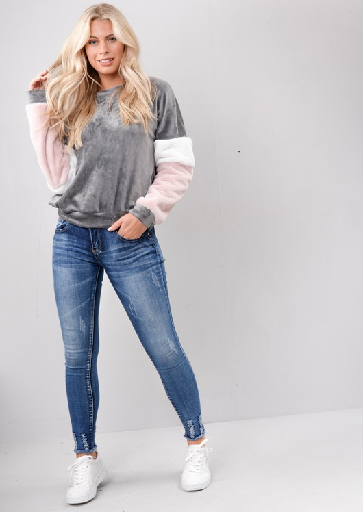 Contrast Stripe Velour Faux Fur Sweater Jumper Grey