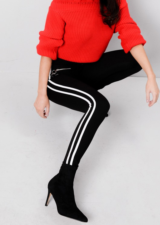 Contrast Stripe Zip Detail Track Leggings Black