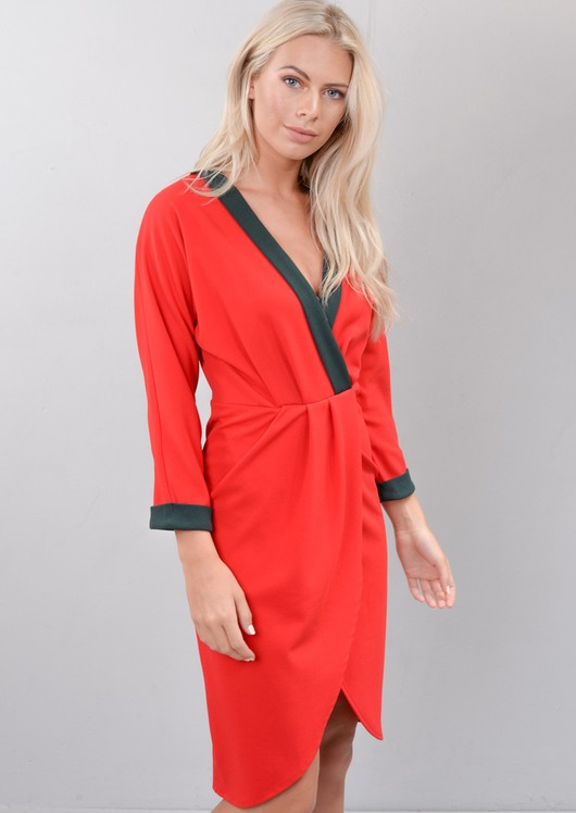Contrast Trim Wrap Over Midi Dress Red