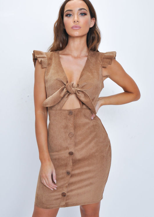 Corduroy Button Through Bow Detail Frill Mini Dress Brown