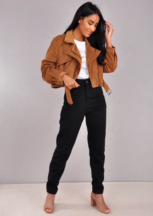 Corduroy Cropped Biker Jacket Camel Brown