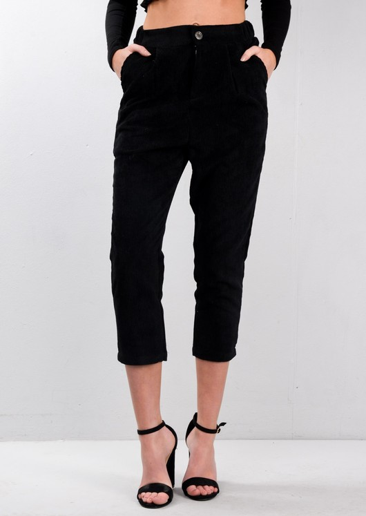 Corduroy High Rise Cropped Slim Fit Trousers Black