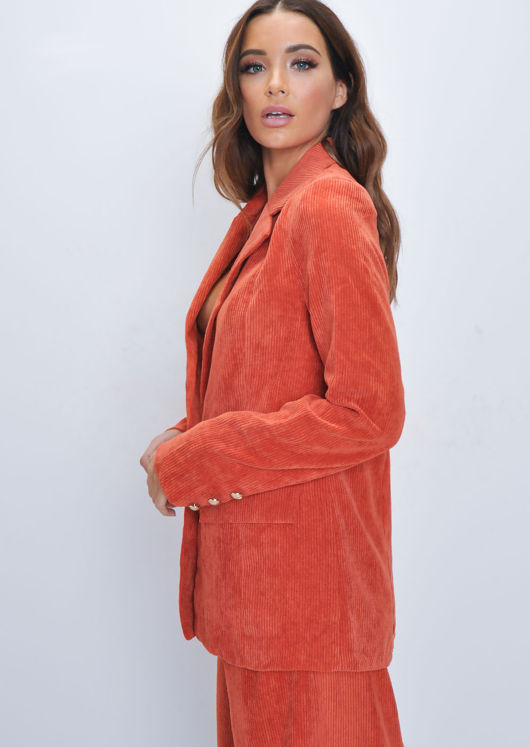 Corduroy Tailored Blazer Jacket Orange