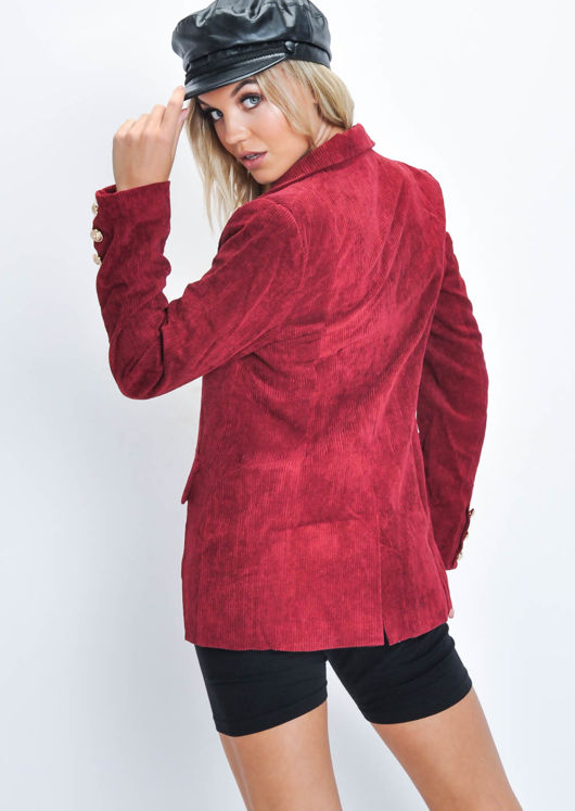 Corduroy Tailored Blazer Jacket Wine Red