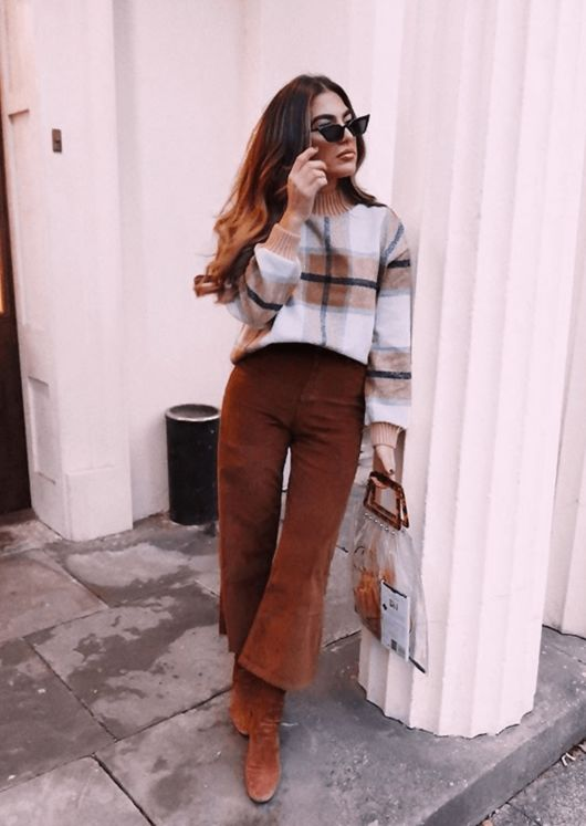 Corduroy Wide Leg Trousers Brown