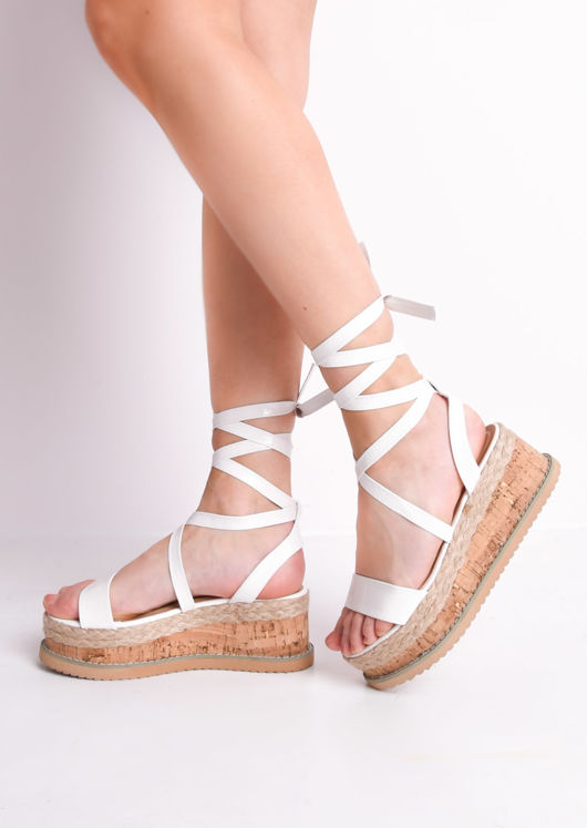 Croc Print Lace Up Braided Cork Wedge Flat Espadrille Sandals White