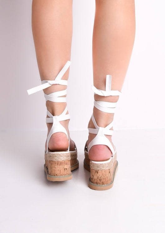 Croc Print Lace Up Braided Cork Wedge Flat Espadrille Sandals White