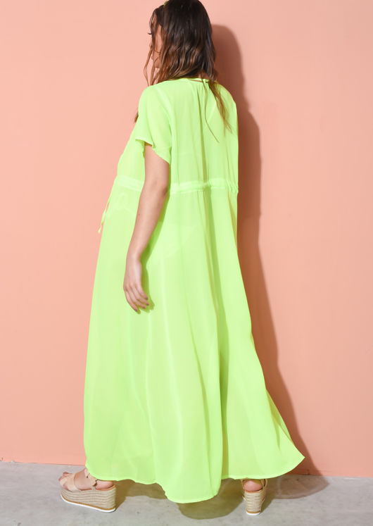 Cover Up Maxi Kimono Neon Green