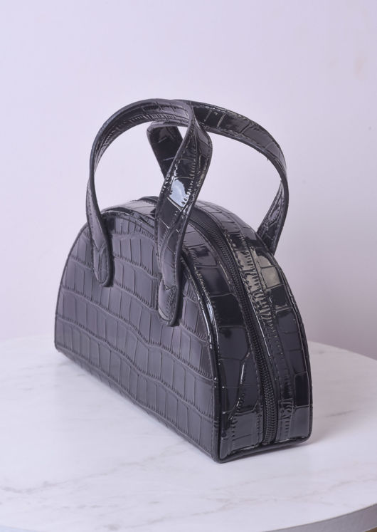 Croc Embossed Half Crescent Tote Bag Black