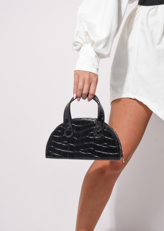Croc Embossed Half Moon Grab Bag With Chain Black