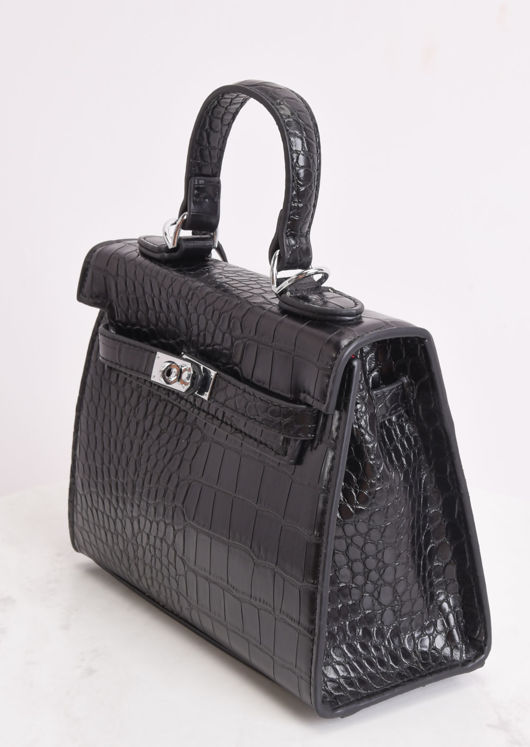Croc Embossed Micro Tote Bag Black