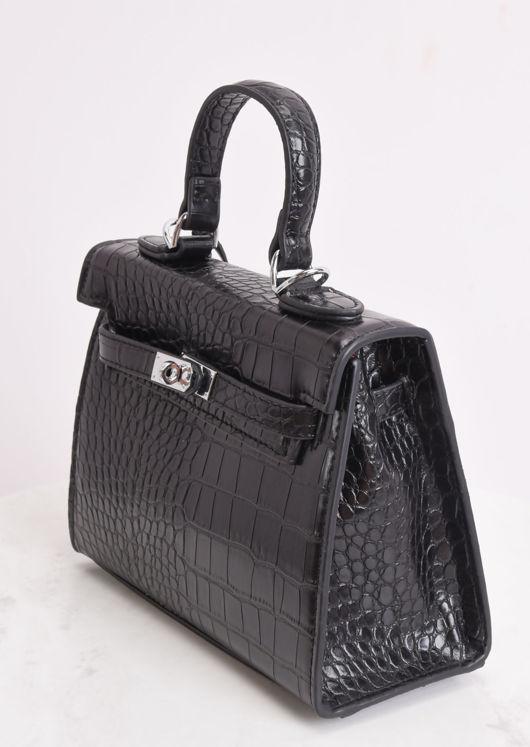 Croc Embossed Micro Tote Bag Black