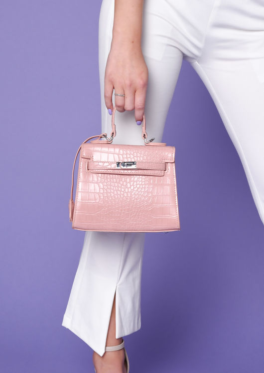 Croc Embossed Micro Tote Bag Pink