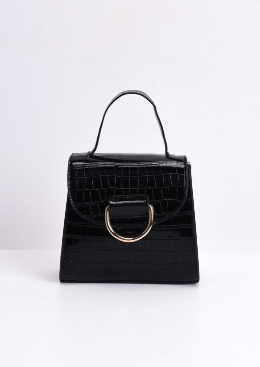 Croc Embossed Mini Cross Body Bag Black