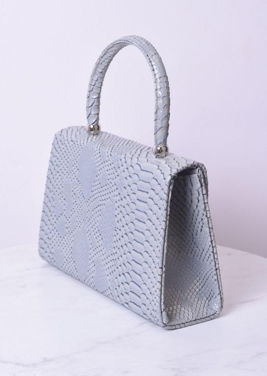 Croc Embossed Mini Envelope Bag Grey