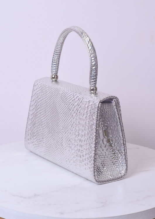 Croc Embossed Mini Envelope Bag Sliver
