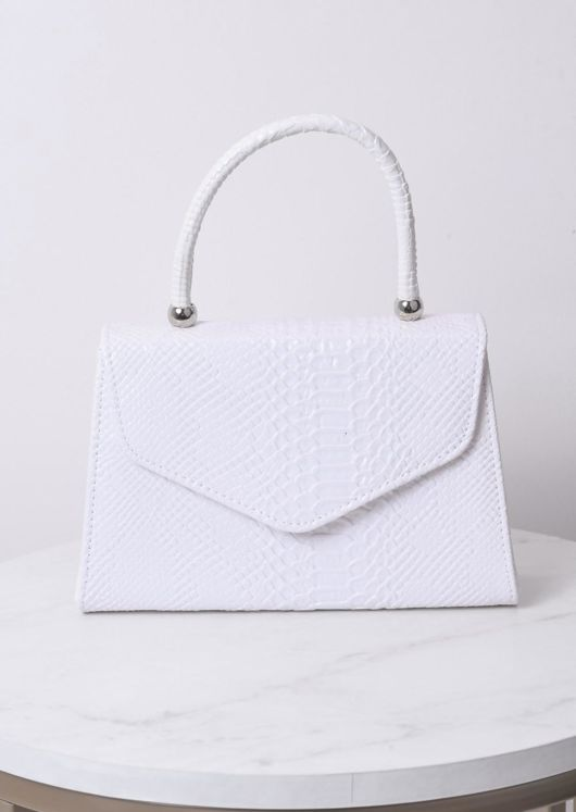 Croc Embossed Mini Envelope Tote Bag White