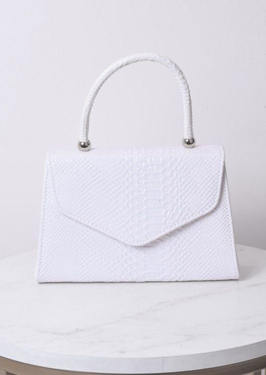 Croc Embossed Mini Envelope Tote Bag White