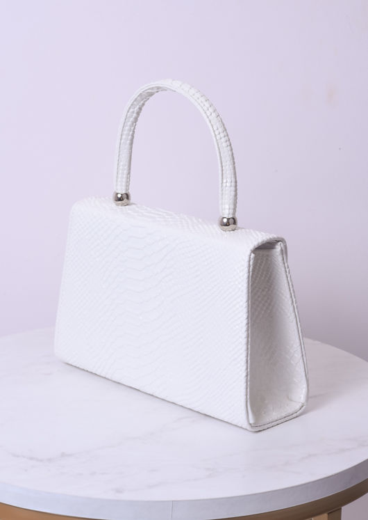 Croc Embossed Mini Envelope Bag White