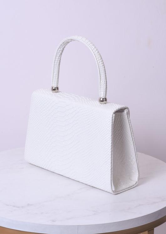 Croc Embossed Mini Envelope Bag White