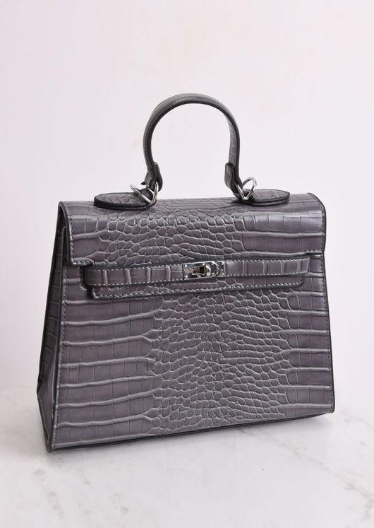 Croc Embossed Mini Tote Bag Grey