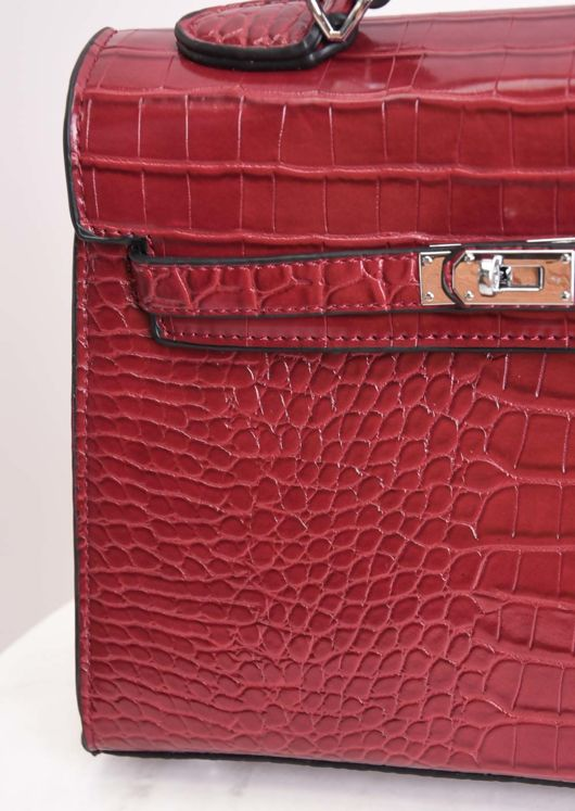 Croc Embossed Mini Tote Bag Red