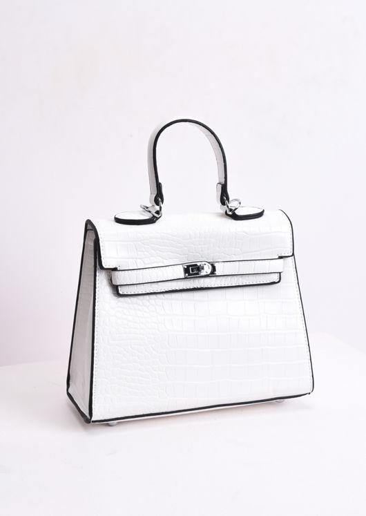 Croc Embossed Mini Tote Bag White