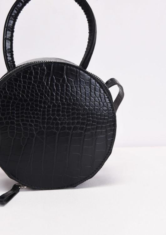 Croc Embossed Round Cross Body Bag Black