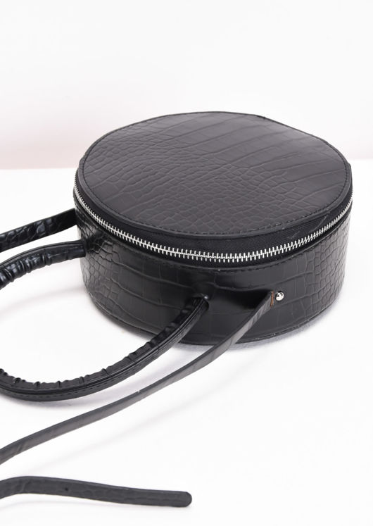 Croc Embossed Round Cross Body Bag Black
