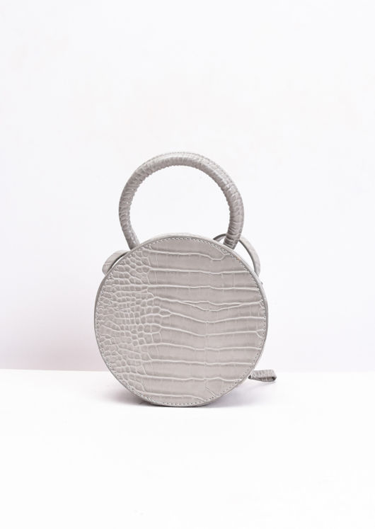 Croc Embossed Round Cross Body Bag Grey