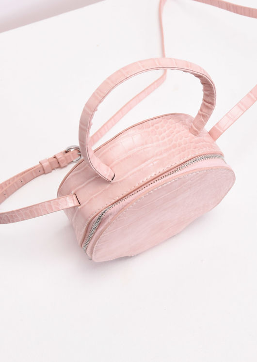 Croc Embossed Round Cross Body Bag Pink