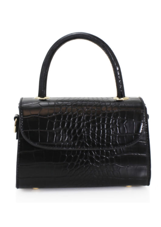 Croc Faux Leather Mini Envelope Tote Bag Black