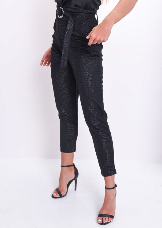 Croc Print Belted Tapered Trousers Black