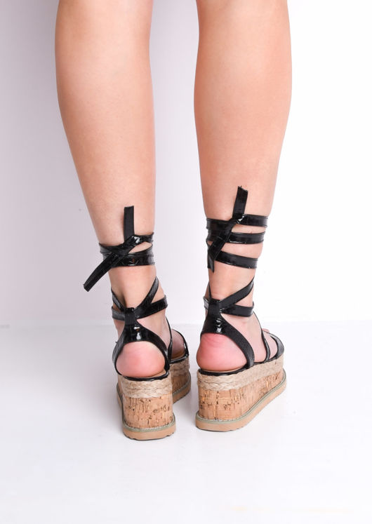 Croc Print Lace Up Braided Cork Wedge Flat Espadrille Sandals Black