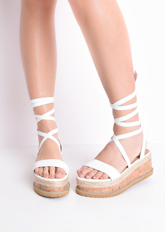 e8f25812fd9 Leather Lace Up Braided Cork Wedge Flat Espadrille Sandals White