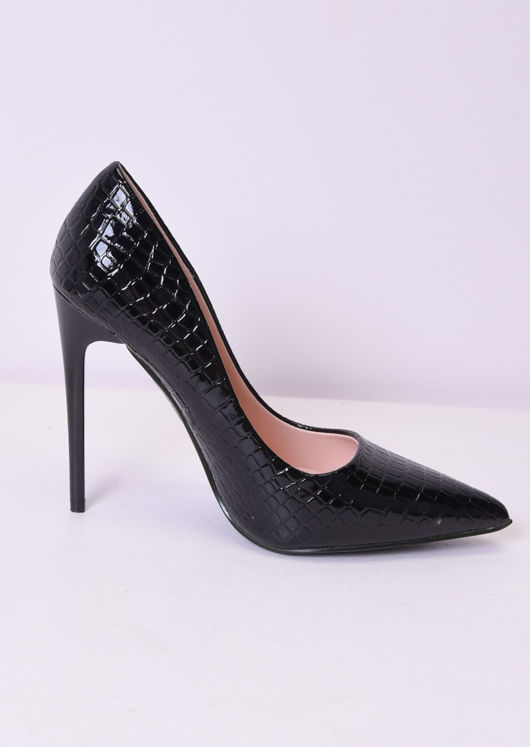 Croc Print Patent Pointed Toe High Heel Court Shoes Black