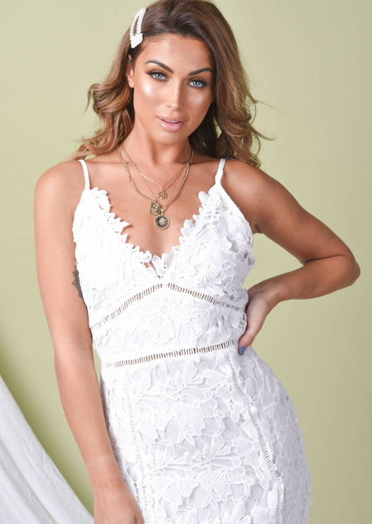 Crochet Bodycon Midi Dress White