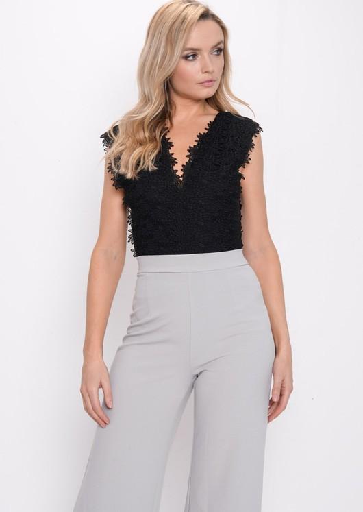 Crochet Floral Lace Plunge Bodysuit Black