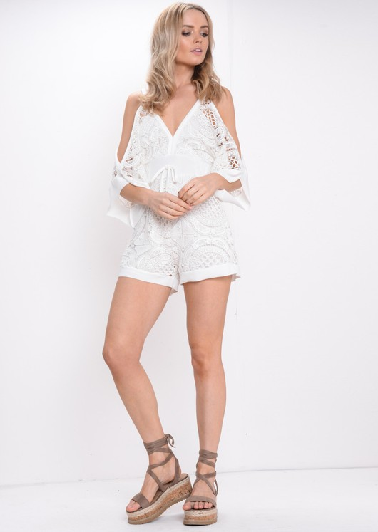 Crochet Lace Playsuit White