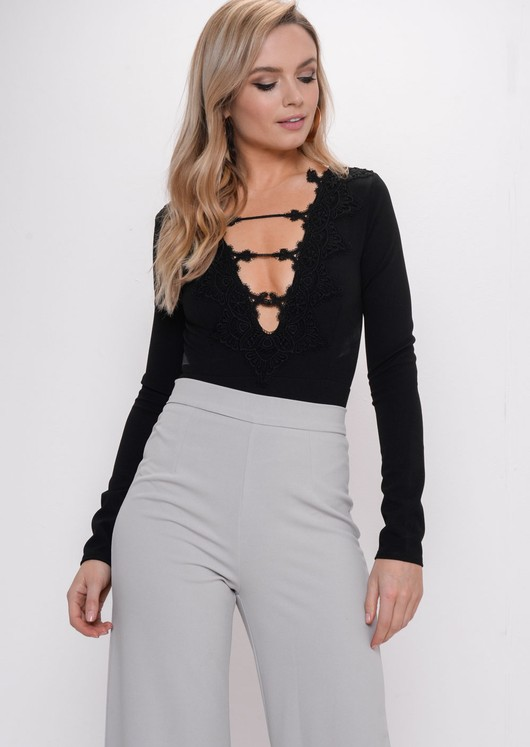 Crochet Lace Plunge Long Sleeve Bodysuit Black