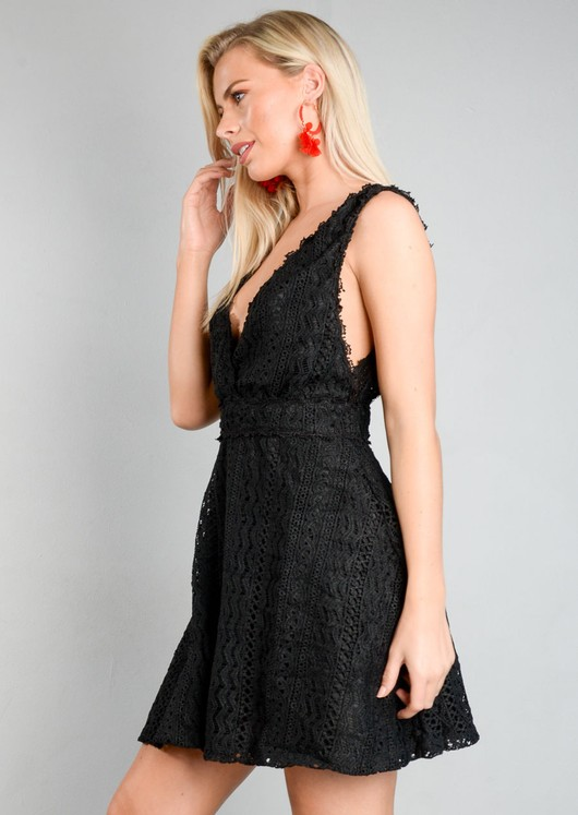 Crochet Lace V Neck Skater Dress Black
