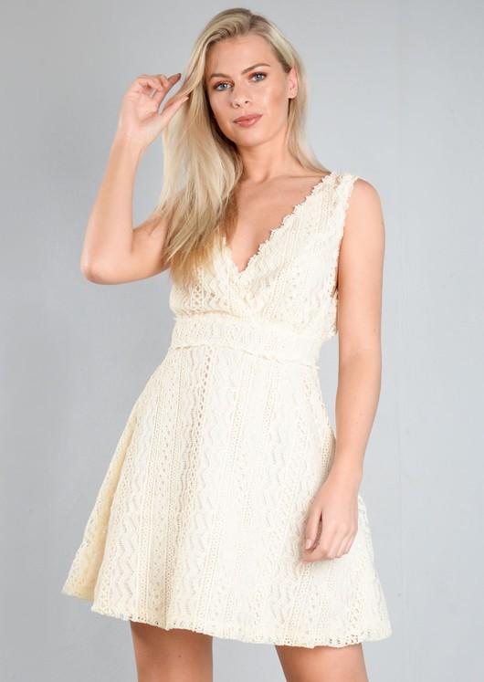 Crochet Lace V Neck Skater Dress Cream