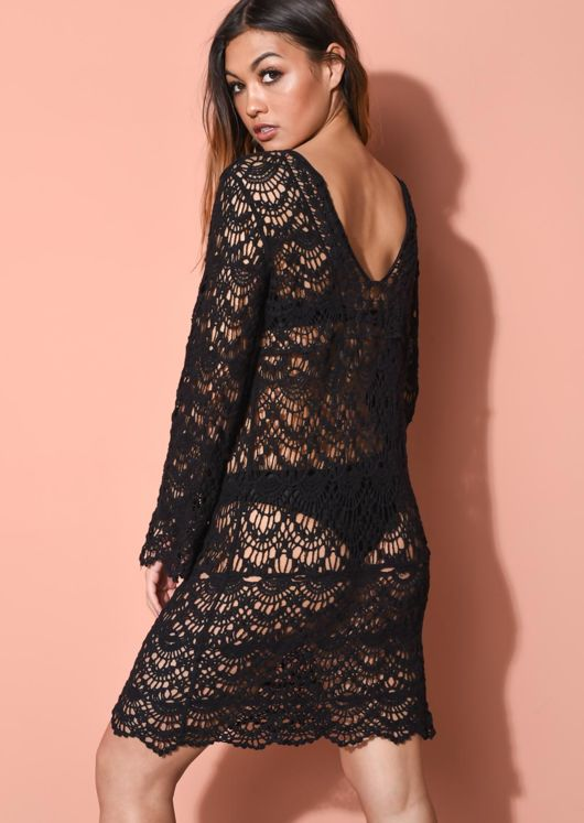 Crochet V Neck Cover Up Dress Black